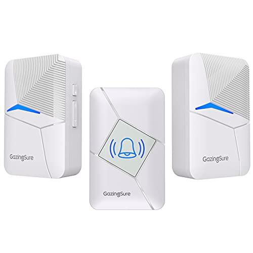 GazingSure Campanello senza fili, kit campanello per porta cordless plug-in 457m, un trasmettitore due ricevitori - Bianco