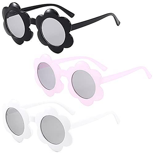 FANDE El Nuevo Gafas De Sol Para Niños, 3 Pares Gafas de Sol para Niñas, Gafas de Sol Retro con Forma de Flor, Niño Niña Viajes al Aire Libre, Artículos de Fiesta