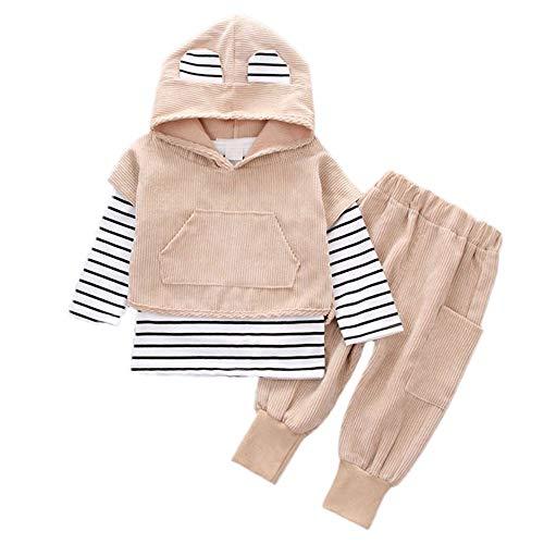 XXYsm XXYsm Baby Kapuzenpullover Outfits Hoodie Mädchen Jungen Sweatshirt Mit Kapuze mit Ohren + Hosen Unisex Set Streifen Print Blusen Khaki 6-12 Monate