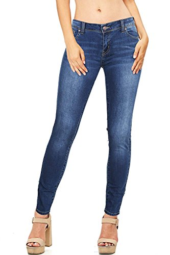 Wax Women's Juniors Basic Stretchy Fit Skinny Jeans (3, Med Denim)