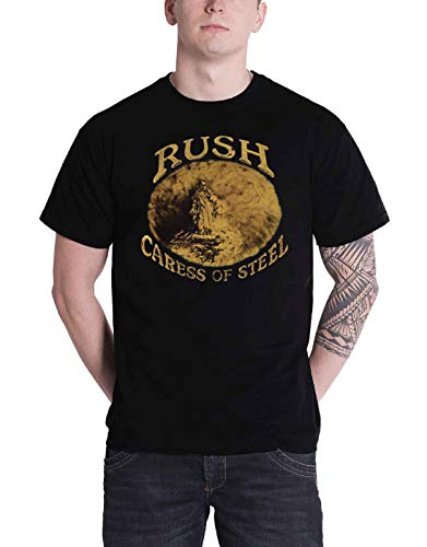 Rush Camiseta masculina oficial da banda Caress Of Steel Track List preta, Preto, P