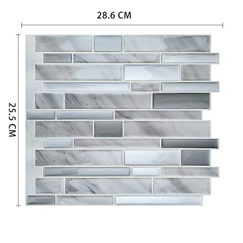 Leileixiao 10 unids 3D Peel and Stick Wallpaper de Vinilo Impermeable a Prueba de Calor Mosaico Auto Adhesivo Cocina Backsplash Tejas (Color : MSOB 089)