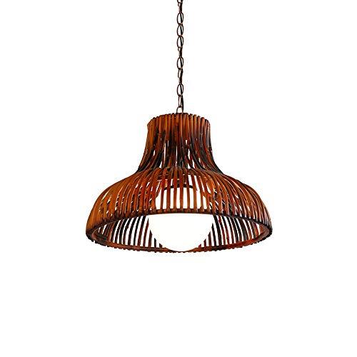 LHTCZZB Bambú Art Chandelier Botón ajustable Material de madera LED Lámpara de ahorro de energía Iluminación Equipo de iluminación Decoración adecuada para el dormitorio de techo para el hogar (madera