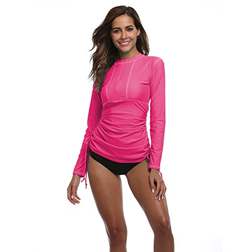 Women's Long Sleeve Rash Guard Wetsuit Swimsuit Top UV Sun Protection (901 L, Rose Red)