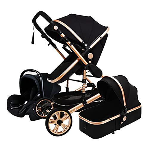 KHUY Baby Stroller Pram Travel System 3 in 1, Adjustable High View Newborn Pram Infant Carriage Pushchair, Carseat and Strollers Combo with Baby Basket and Stroller Fan (black)