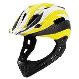 Casco de bicicleta Casco casco de la cara Niños equilibrio del coche completo con la cola desmontable USB Luz Chin Ligera Kids Helme Casco de equitación (Color: azul E-Libre) ( Color : YellowFree )