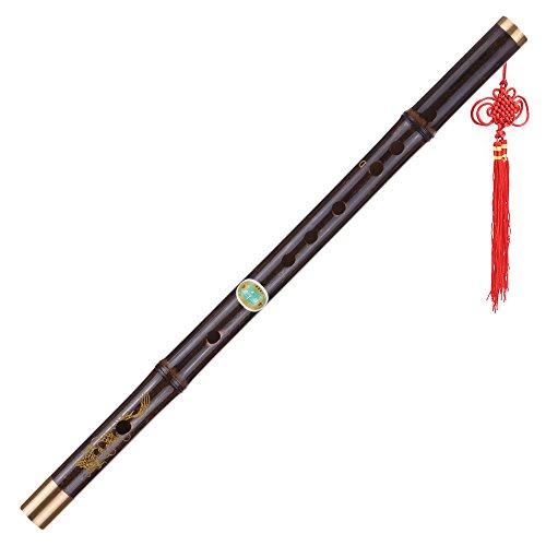 ammoon Professionelle schwarze Bambus Dizi Flöte Traditionelle handgemachte chinesische Musikholzblasinstrument Schlüssel von D-Studie Stufe