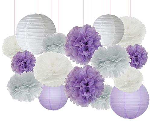 Elephant Baby Shower Decorations 16 pcs White Lavender Grey Purple Tissue Paper Pom Pom Paper Lanterns for Lavender Themed Party Bridal Shower Decor Birthday Decorations