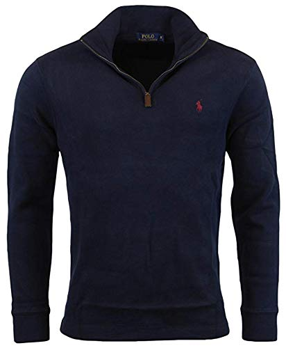 POLO RALPH LAUREN Men's Big & Tall Fleece 1/2 Zip Mock Sweater (LT, Navy)