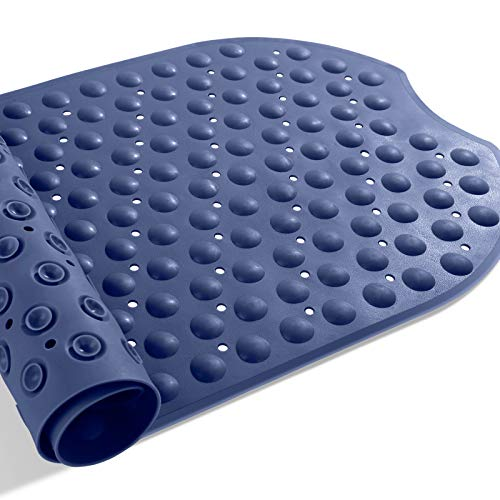 Yimobra Bathtub Mat Oval Bath Tub Shower Mats Extra Long 39 x 16 Inches, Non-Slip with Suction Cups, Drain Holes, Soft, Machine Washable, Dark Blue