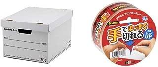 フェローズ バンカーズボックス 新703S A4サイズ 黒 3枚1セット 収納ボックス ふた付き 1005901 & 3M スコッチ ガムテープ 手でまっすぐ切れる透明テープ 48mm×35m 3842K