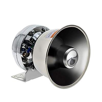 DORRALE 100W Siren Speaker DV12V Silver Metal Round Cone Louderspeaker Compare with All 100W Police Siren Amplifer for Cars,Truck,Fire,Ambulance,Traffic
