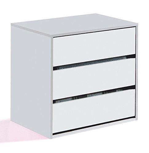 Esidra Cassettiera comò 3 cassetti, Legno Bianco, 60 x 57 x 44 cm