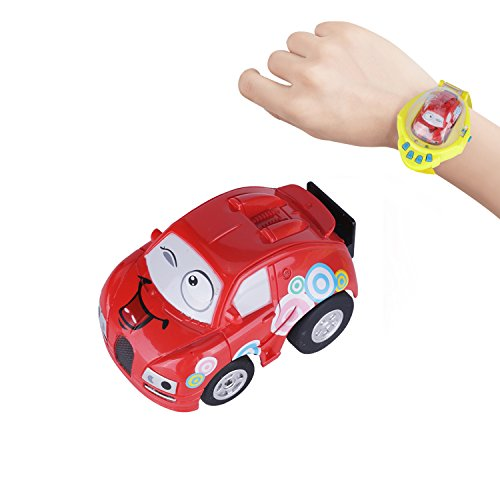 MyCreator Mini Remote Control Car Toy, Upgraded Gravity Sensor Mini Racer Wristband Concept RC Car Toy with USB Charge for Kids Children Hobbyist Collection (Red - Mini Car)