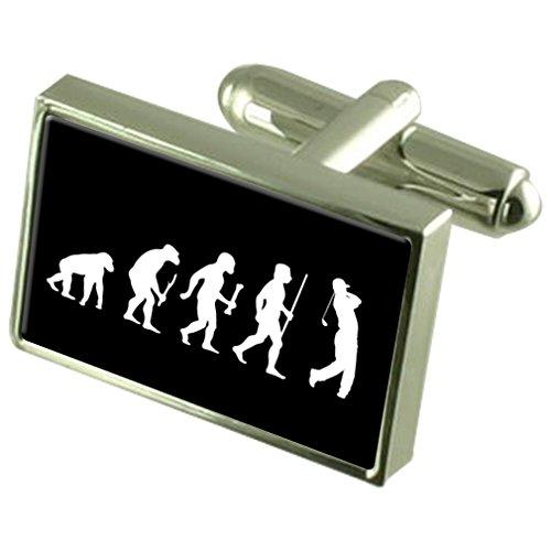 Select Gifts Evolution Affen zum Menschen Golf Manschettenknöpfe Gravur Box