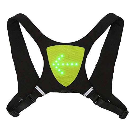 Dastrues LED Blinker Licht Reflektierend Weste Rucksack Drahtlose Fernbedienung für Night Radsport - Schwarz