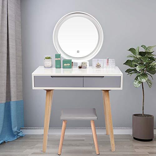 ELECWISH Vitt toalettbord med LED-lampor spegel - vitt sminkbord set med justerbar ljusstyrka spegel, vadderad pall Gilrs kvinnor sovrum