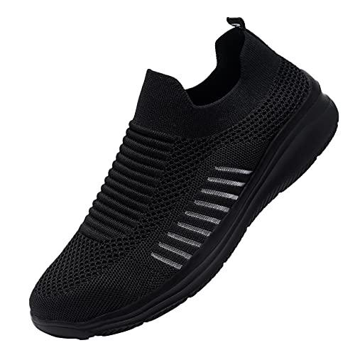 LARNMERN PLUS Zapatos de Seguridad Hombre Mujer Ligero Transpirables Zapatillas de Trabajo Cómodo Antideslizante Calzado de Seguridad con Punta de Acero (Negro Elegante,43 EU)