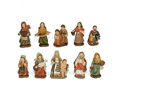 Presepe pastori statuine Personaggi 5 cm, 10 soggetti in Resina alta qualità ideale per presepi da esposizione