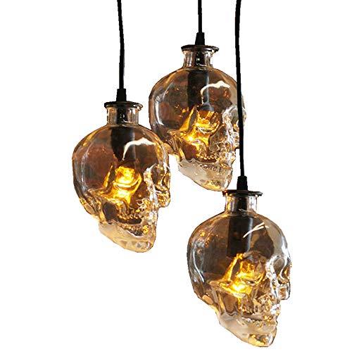 Lámpara Colgante Mesa de Comedor Vintage, Lámpara Colgante Calavera Vintage en Vidrio, Lámpara Colgante de 3 llamas E14 para Pasillo Cocina, Altura Ajustable 120cm