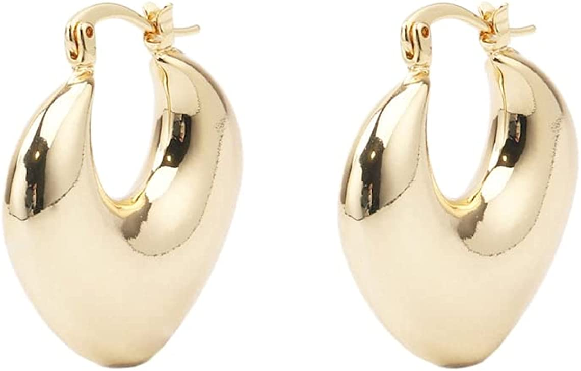 Hollow Lightweight Chunky! Custom Handmade Delicate 18kt Gold Filled Flat Peach Heart Hoop Earrings Minimal Fashion Brands Factory Wholesale