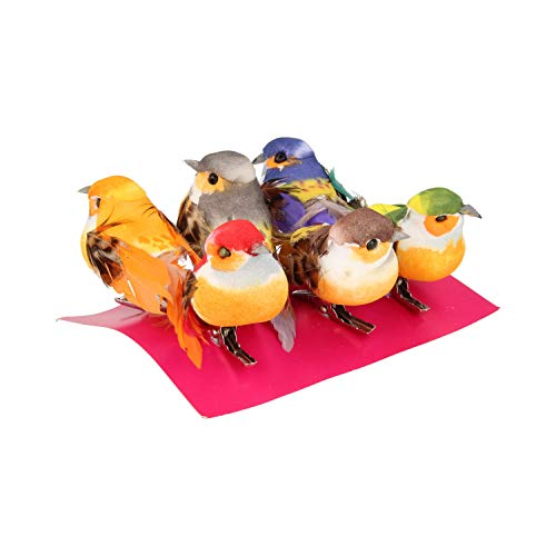 Artemio Multicoloured Small Birds on Clip, 6 x 2,5 x 5 cm