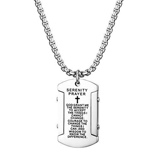Cupimatch Dog Tag Herren Hundemarke mit Bibel Gravur Kette Halskette Anhänger für Männer Man Erkennungsmarke Edelstahl Jungen 60cm, Silber