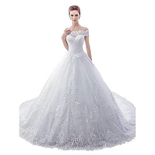 Elegante Vestido de Novia Mujer Hombro Capilla Tren Vestido de Novia para...