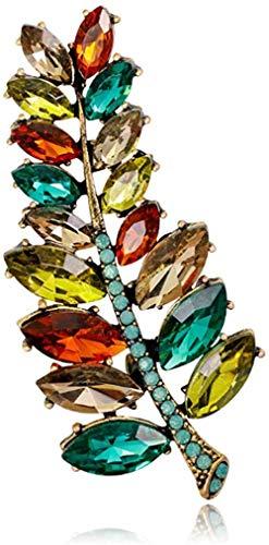 Broche Fopoytqabg Brosche damas chicas Brosche Exquisite Moda de estilo personalizado hoja aleación eingestellte Strasssteine    rojo verde piedras preciosas  para DIY boda b