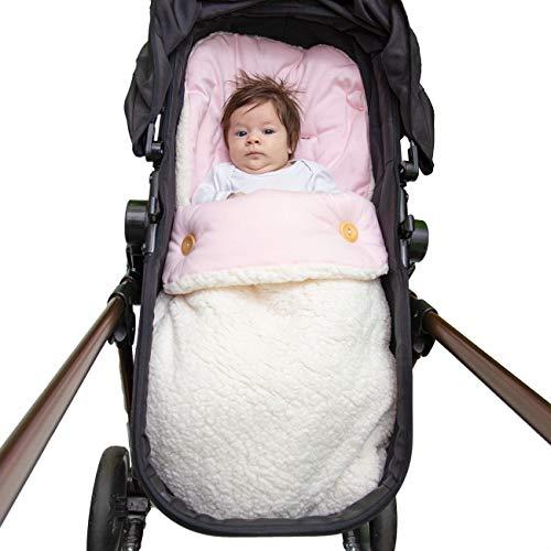 Saco Porta Bebê, Capa e Colchonete de Carrinho e Bebê Conforto 3 em 1 Hipoalergênico Malha Rosa e Sherpa Palha