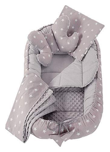 Réducteur de Lit 5 éléments bébé Cocon 90x50cm nouveau-né 100% Coton Baby nest Medi Partners couverture insérer coussin (Étoiles Grises)