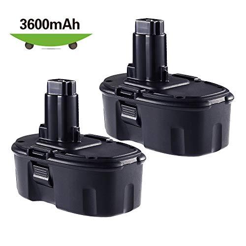 3600mAh 18V DC9096 Battery for Dewalt 18V Battery XRP Replacement DC9096 DC9099 DC9098 DW9096 DW9099 DE9096 DE9098 Compatible with Dewalt 18 Volt Ni-Mh Tools Batteries (2Pack)