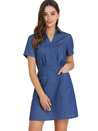 Allegra K Vestido Camisero Acampanado Liso De Cambray con Cuello Vuelto Bolsillos para Mujer Azul L