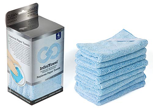 InfiniTowel Revolutionary Eco Fiber Towel That Replaces Paper Rolls for Everyday Use, 4 Pack, Blue, 4 Count