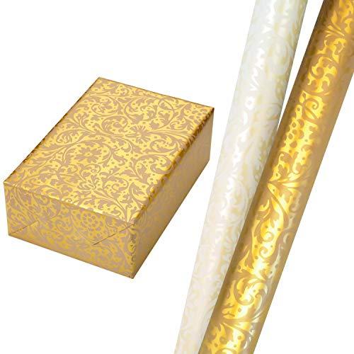 Geschenkpapier Set 2 Rollen (75 x 150 cm), ornamentales Geschenkpapier in weiß und crème, auf veredeltem Fond in Perlglanz und Gold. Für Hochzeit, Geburtstag. Edel + hochwertig.