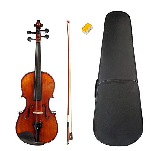 LOIKHGV Geige- Akustische Violine 4/4 Violine Flame Maple Sound Handmade Ebony Zubehör Set Hochwertige Violine, Dunkelbraun