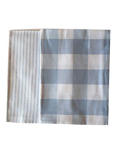 Kracht Halbleinen Geschirrtuch - Set - Nadelstreifen, Streifen, Karo, kariert Farbe: Hellblau, weiß