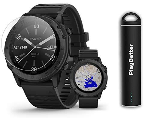 Garmin tactix Delta Sapphire Power Bundle | +PlayBetter Portable Charger & HD Screen Protectors | Premium Tactical GPS Watch, Multi-GNSS Support | 010-02357-00