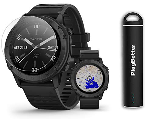 Garmin tactix Delta Sapphire Tactical GPS Watch Power Bundle | 2020 Model | +PlayBetter HD Screen Protectors & PlayBetter Portable Charger | 010-02357-00