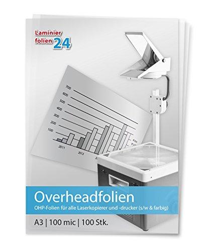 XLam Overheadfolien DIN A3 für Laserkopierer- und Drucker - OHP Folien - 100 Stück - PREMIUMQUALITÄT