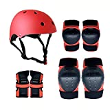 Protective Gear Adjustable Skate Helmet Knee Pads Elbow Pads Wrist Guards Pads Set Set , for BMX Cycling Skateboard Roller Skating Scooter for 3-8 Years Boys Girls Kids (Color : Red, Size : L)