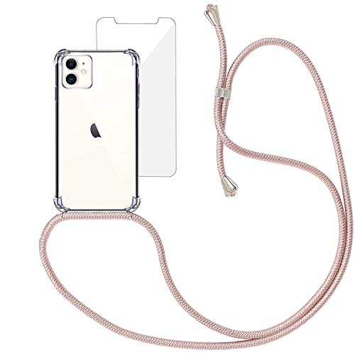 Yohii Funda con Cuerda para iPhone 11 + Protector Pantalla de Cristal Templado, Carcasa Transparente TPU Suave Silicon Colgante Ajustable Collar, Case para iPhone 11 - Oro Rosa