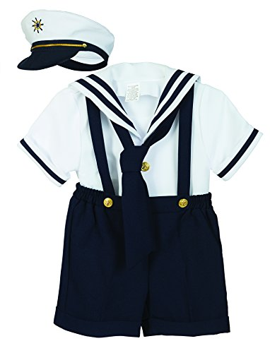 Luca Gabriel Baby Toddler Boys Nautical Sailor Short Suit Set with Hat - Large Navy/White