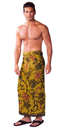 1 World Sarong Mens Sarong with Traditional Motif Brown
