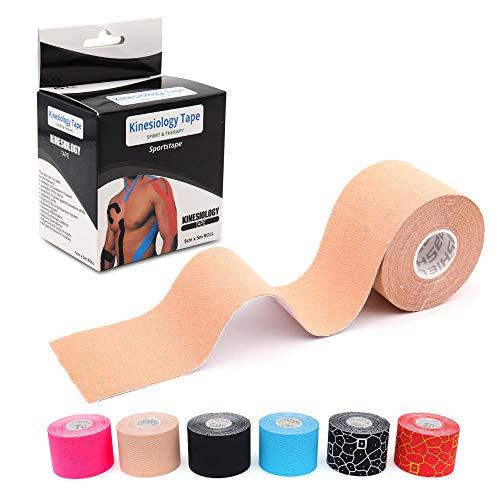 LEANKING Kinesiologie Tape in verschiedenen Farben (5m x 5cm) Kinesiotapes wasserfest und elastisch - Physiotape Kinesiotape Sporttape - Kinesio Tapes (Hautfarben)