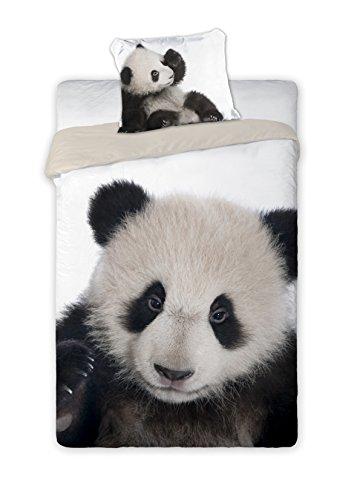 Wild Panda Set Lenzuola Letto Singolo, Copripiumino 160x200 Cotone Biancheria da Letto