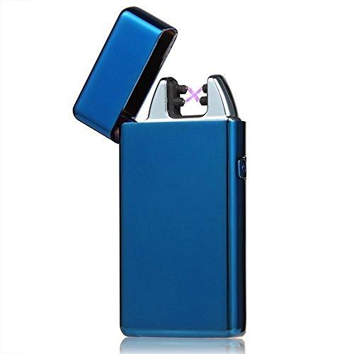 Visibee Visibee: Windundurchlässig Elektronische Doppel Arc USB Feuerzeug Zigarettenanzünder Wiederaufladbare Zigarettenanzünder kein Gas Mini-Tasche Ignition Lighter - USB-Kabel im Lieferumfang enthalten Blue