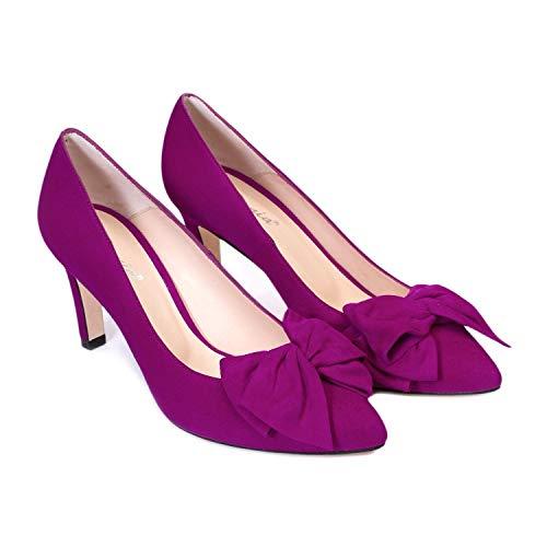 Milena - Zapatos Tacones de Piel para Mujer con Lazo - Hechos...
