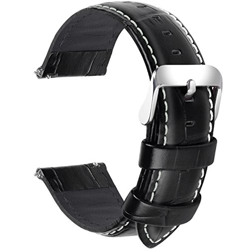 Fullmosa 7 Colori per Cinturini di Ricambio, Bambu Pelle Cinturino/Cinturini/Braccialetto/Band/Strap di Ricambio/Sostituzione per Watch/Orologio 18mm 20mm 22mm 24mm, Nero 22mm