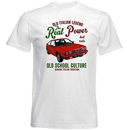 Vintage Italiaanse Alfa Romeo Alfasud Sprint Auto Wit Grafisch T-shirt Heren Ronde hals Korte mouw Katoen T-Shirt Bottoming T Shirt Fashion Tops Casual Kleding
